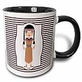 3dRose Belinha Fernandes - Countries and cities cartoon - American native girl representing indigenous peoples of the Americas - 11oz Two-Tone Black Mug (mug_160625_4)