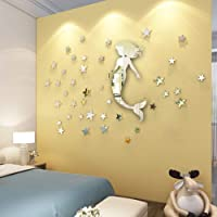 Mirror Wall Sticker Mermaid Shape and 100 PCS Stars Silver Reflection for Kids Room Decoration