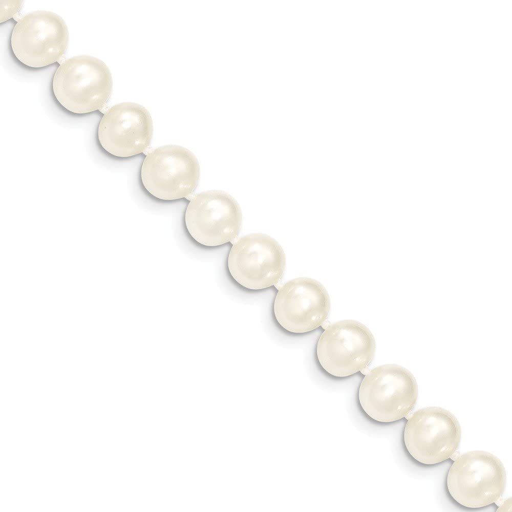 14k 7-8mm White Near Round Freshwater Cultured Pearl Bracelet Length 7.5