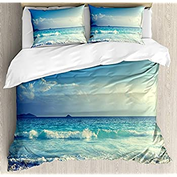 Image of Home and Kitchen Ocean 4 Pieces Duvet Cover Set Cal-King, Tropical Isl Paradise Beach at Sunset Time Waves The Misty Sea Image, Decorative Bedding Set for Childrens/Kids/Teens Girls Boys, Cream Turquoise