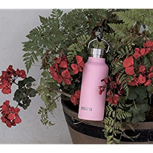 MIRA 17 Oz Stainless Steel Vacuum Insulated Water Bottle   Thermos Keeps Drink Cold for 24 hours & Hot for 12 hours, Doesn't Sweat   Large Powder Coated Sports Flask with 2 Lids   Rose Pink