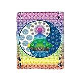 VROSELV Custom Blanket Home Collection Meditation and Yoga Theme Ethnic Patterns Human Chakra and Mandala Print Asian Art Design Soft Fleece Throw Blanket Rainbow