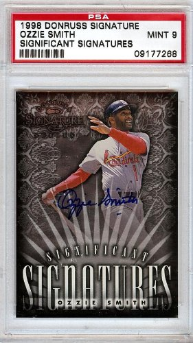 Ozzie Smith Autographed 1998 Donruss Signature Card St. Louis Cardinals Graded 9 Stock #15569 - PSA/DNA Certified
