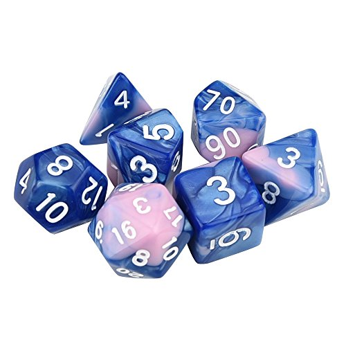 (MatureGirl 7pcs Polyhedral Dice | Series Two Colors Dungeons and Dragons DND RPG MTG Table Games Dice | D4-D20 Multi Sided Acrylic (I))