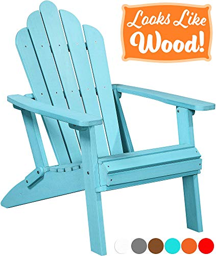 - PolyTEAK Seashell Oversized Folding Poly Adirondack Chair, Turquoise Blue | Adult-Size, Weather Resistant, Made from Plastic