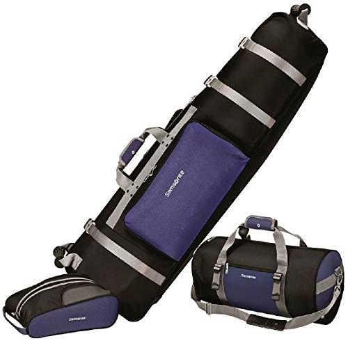 Samsonite Golf Deluxe 3 Piece Travel Set, (Wheeled Golf Bag Travel Cover)