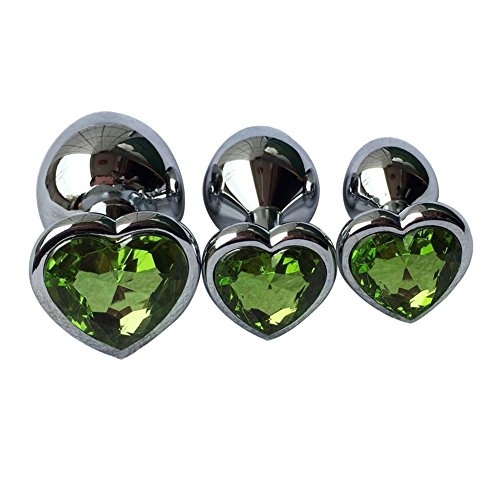 3Pcs Set Luxury Metal Butt Toys Heart Shaped Anal Trainer Jewel Butt Plug Kit S&M Adult Gay Anal Plugs Woman Men Sex Gifts Things for Beginners Couples Large/Medium/Small,Light Green by Sexysamba