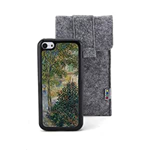 CaseCityLiu - Kamil Monet's garden at Argenteuil Claude Monet Oil Painting Design Black Bumper Plastic+TPU Case Cover for Apple iPhone 5C Come With FREE Non Woven Packing Bag