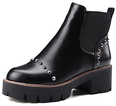 Women's Trendy Rivets Studded Round Toe Elastic Chelsea Booties Lug Sole Block Low Heel Platform Slip on Ankle Boots Shoes