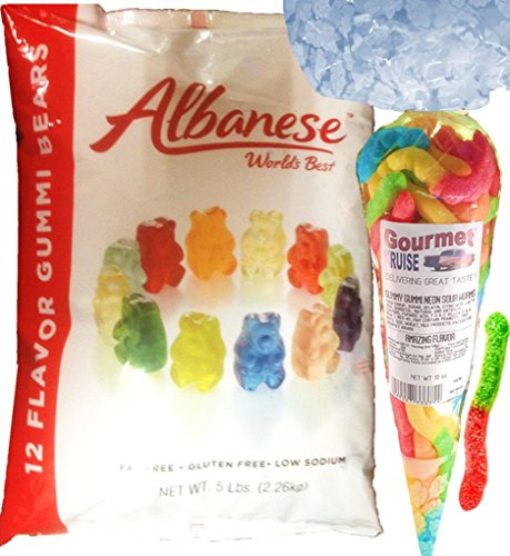 (Gummi Gummy Bears Albanese 12 Flavors-Bulk Candy 5lb Bag With Neon Sour Worms Gourmet Kruise Signature Gift Bag 10 OZ (NET WT 5 LBS.10OZ) 2 Item)