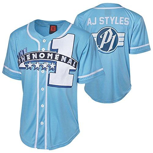 WWE Authentic Wear AJ Styles The Phenomenal One Baseball Jersey Black 3XL