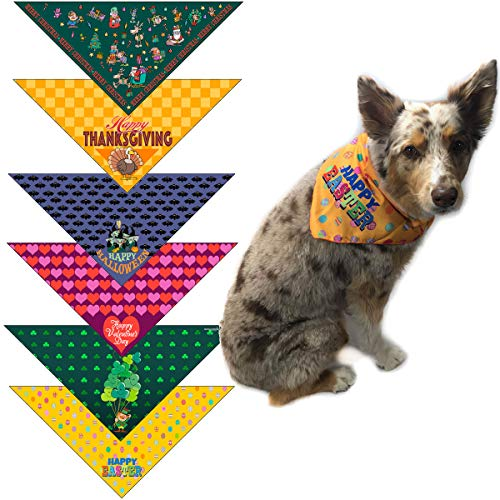 Stonehouse Collection Holiday Dog Bandana for Small Dogs - Set of 6 - Christmas, Halloween, Thanksgiving, Valentine's Day, St. Patricks Day, Patriotic - #2 -