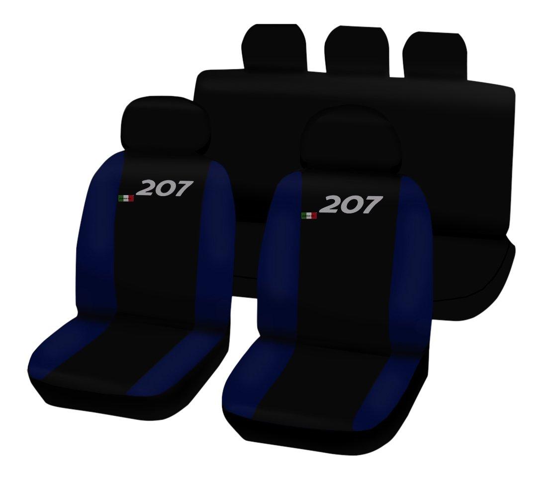 Lupex Shop 207.N.BS Housses de si/èges Auto Bicolores Noir//Bleu Marine