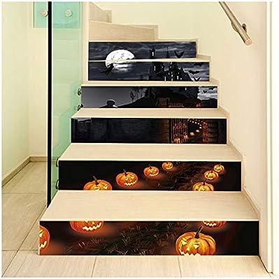 YOLE Decoraciones de Halloween Diseño de escaleras de la casa encantada, Pegatinas de escaleras traviesas de Terror, Pegatinas de Pared de Puerta de Vidrio de Ventana de Festival Fantasma,H: Amazon.es: Deportes y