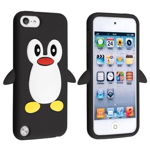 Tsmine Penguin Cartoon Case for Apple iPod Touch 5th Generation - Cute 3D Penguin Soft Silicone Back Washable Cover Case Protective Skin for iPod Touch 5/6 5th/6th Gen, Black