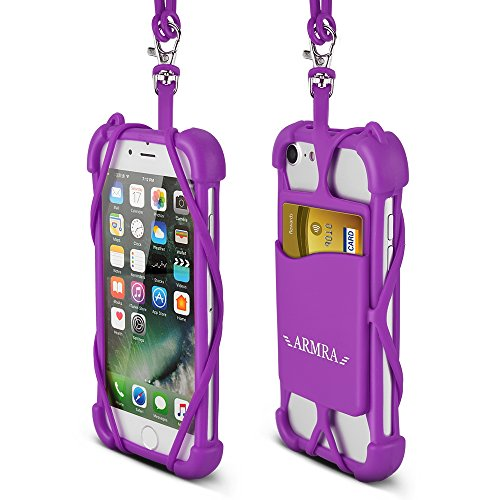 2 in 1 Cell Phone Lanyard Neck Strap Case Universal Smartphone Necklace Shockproof Cover with ID Card Slot Holder for iPhone X 8 7 6 6S 5 SE iPod Touch Samsung Galaxy S8 S7 S6 Edge (Ipod Iphone Silicon Case)