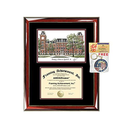 (University of Arkansas Diploma Frame Lithograph - Premium Wood Glossy Prestige Mahogany with Gold Accents - Single Black Mat - University Diploma Frame)
