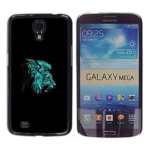 CASEMAX Slim Hard Case Cover Armor Shell FOR Samsung Galaxy Mega 6.3- BLUE LION ROAR