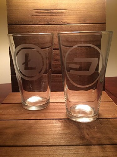 Cryptocurrency Pint Glass Set of 4 – Bitcoin – Ethereum – Litecoin – Dash – blockchain -Crypto Digital Currency
