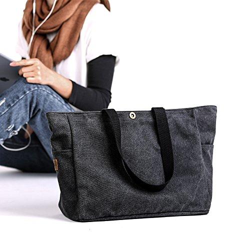 SMRITI Borsa in Tela Multiuso per Scuola Lavoro Viaggi e Shopping - Nero