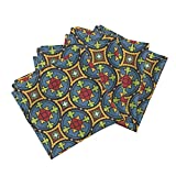 Roostery Stained Glass Medieval Geometric Bright Window Leading Organic Sateen Dinner Napkins Stained Glass ~ Gunnor by Peacoquettedesigns Set of 4 Dinner Napkins