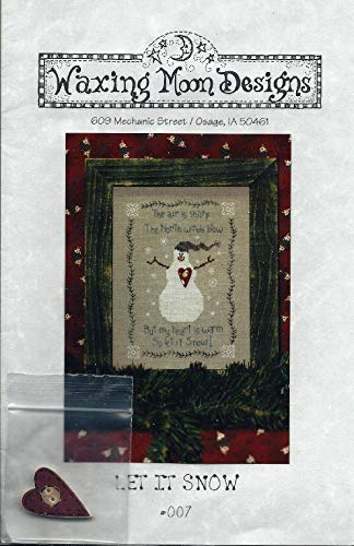"Let It Snow - Cross Stitch & Embroidery Pattern #007 from Waxing Moon Designs Finished Size 6"" x 9"" - Comes with Wood Heart"