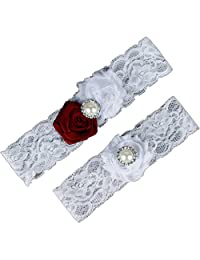 AugusWu Women White Wedding Garters for Bride Lace 2 Pcs Sets