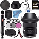 Sigma 24mm f/1.4 DG HSM Art Lens for Nikon F #401306 + 77mm Macro Close Up Kit + Sony 128GB SDXC Card + Lens Pen Cleaner + Fibercloth + Lens Capkeeper + Deluxe Cleaning Kit + Flexible Tripod Bundle