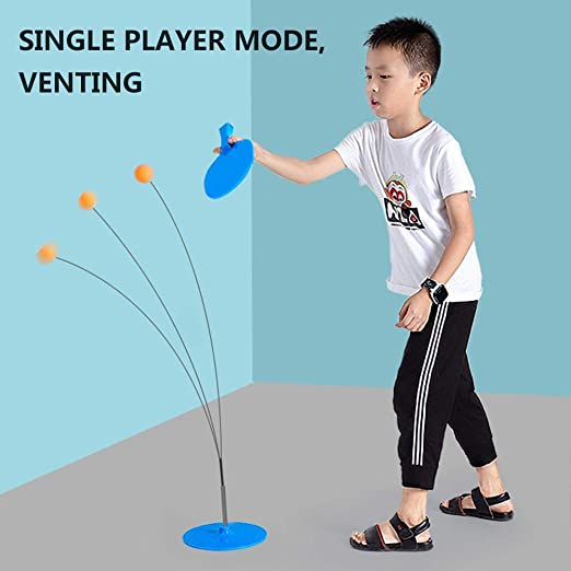 Single Table Tennis Trainer with Elastic Soft Shaft Exercise Toy Elastic Self-training Artifact for Beginners Children Youth