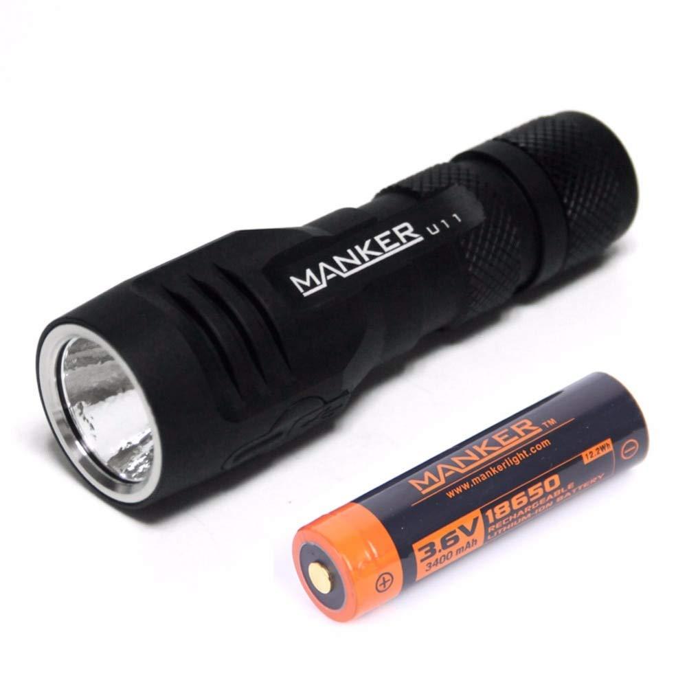 Manker U11 1050 Lumen Cree XP-L V5 LED 18650 Taschenlampe Micro USB Ladegerät Taschenlampe + 3400 mAh 18650 Akku im Lieferumfang enthalten