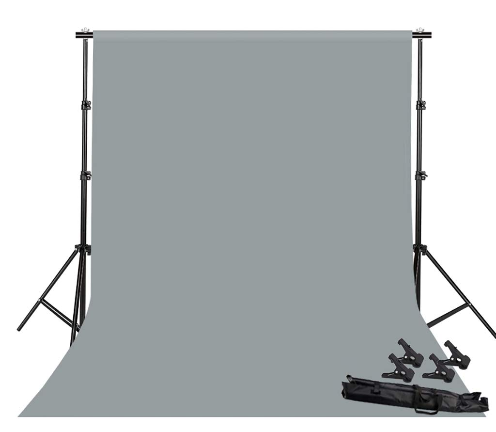 Background Stand Photo Video Studio Background Backdrop Stand Kit, 2x2m Photography Support System with Backdrops Cotton for Portrait,Product Photography and Video Shooting (Color : Gray)