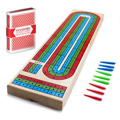 (Cribbage - Traditional Wooden Board Game, Classic 3-Track Layout & Plastic Pegs with Free Deck of Playing Cards by Brybelly)