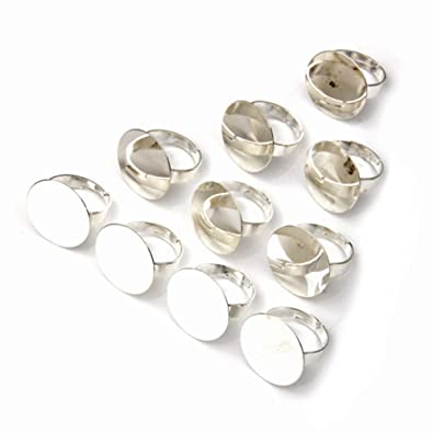 Redondo FACILLA 10X 20 mm chapado en plata anillo con ...