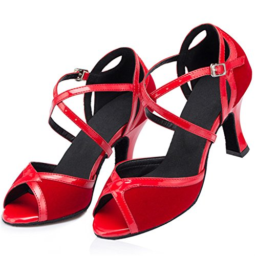 Dance Tango Red W526 Toe Women's Chunky Peep Shoes Latin Ballroom Dance Shoesland Heel Salsa vwpAaaq