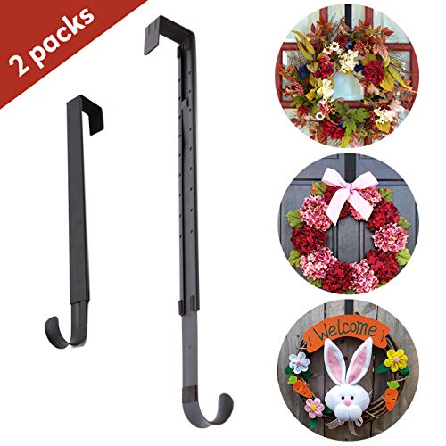 AnCintre Wreath Hanger, 2 Pack Adjustable Length from 15 to 25 Inches Wreath Hanger for Front Door Heavy Duty with 20LB Wreath Hook Holder for Christmas Decorations, Black