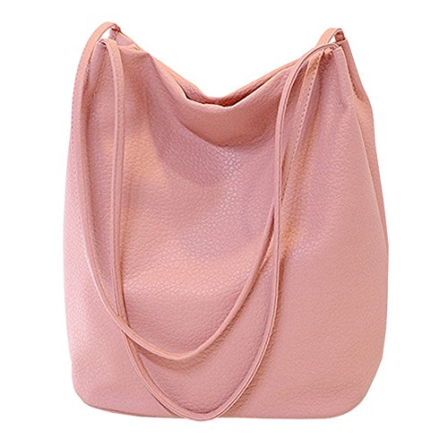 Womens Bucket Tote Leather Hobo Bags Shoulder Pink Bags Purse Handbags RnwTnO7x