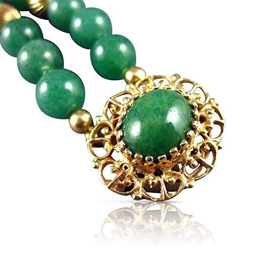 Milano Jewelers AAA Green Jade 14KT Yellow Gold 3D Classic Beaded 2 Row Bracelet #2631
