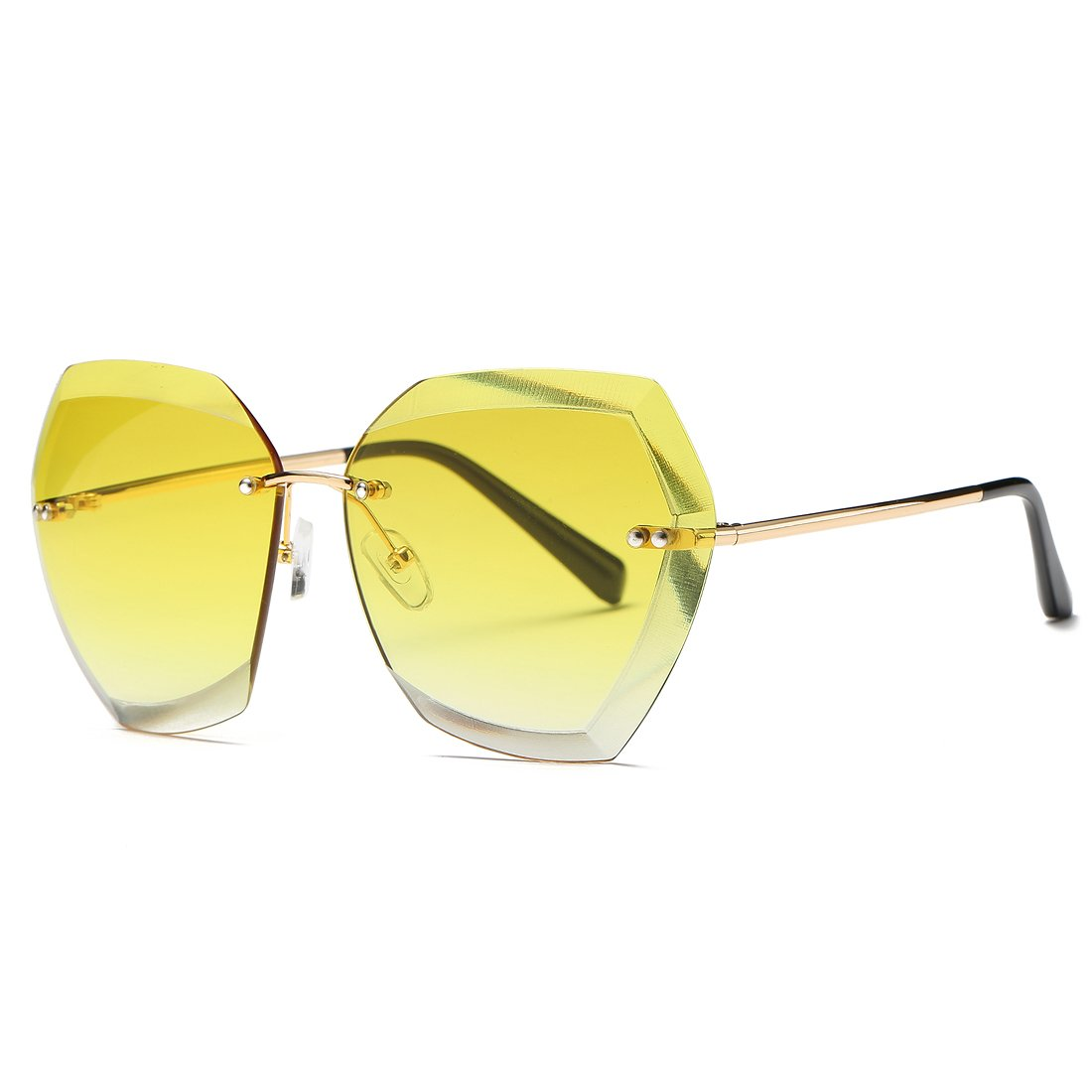 Kimorn Sunglasses Women Oversized Rimless Diamond Cutting Lens Sun Glasses k0534 k0534~2