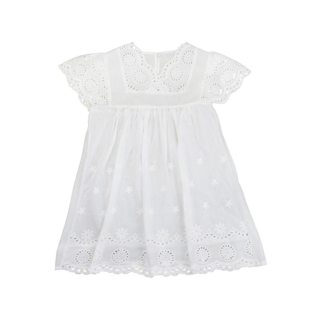 Kobay Kinder Baby M/ädchen Blumendruck Spitze Prinzessin Hohle Kleid Kleidung Sommerkleid