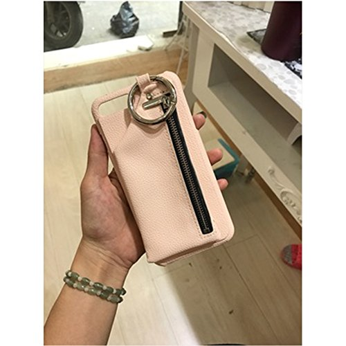 Suit for iPhone 7plus Case, Circle Ring Wallet Pouch case, Fashion Litchi PU Leather Zipper Wallet cell phone case Circle Suits