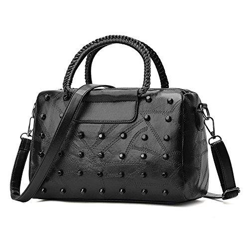 GWQGZ Boston New Handbag Ladies Handbag Shoulder Bag Xiekua (Suede Boston Bag)