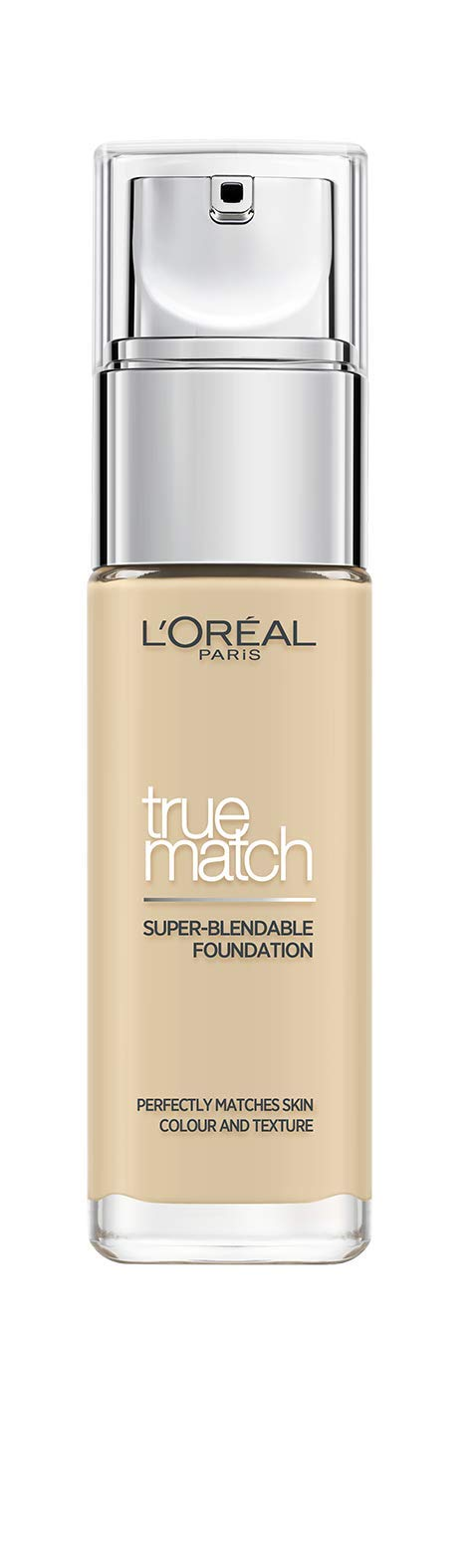 L'Oreal Paris True Match Liquid Foundation, Skincare Infused with Hyaluronic Acid, SPF 17, Available in 40 Shades, 1.W Golden Ivory, 30 ml