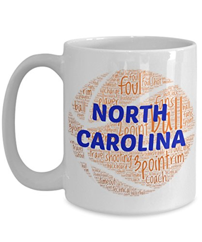 NORTH CAROLINA TARHEELS Basketball mug – coffee tea cup for college sports fan – ceramic team gift -- NCAA college basketball -- 11 ounce or 15 ounce white