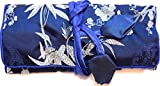 Dark Blue Silver Silk Leaf Print Make Up Bag Jewellery Roll