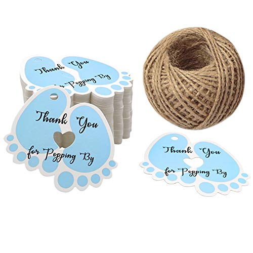 Original Design Thank You for Popping by,100 PCS Cute Baby Feet Thank You Tags with 100 Feet Natural Jute Twine Perfect for Baby Shower Favor (Blue) -