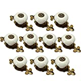 Yahead 10pcs Vintage Ceramic Door Knobs Drawer Pull Handle Cabinet Closet Dresser Cupboard Wardrobe Furniture Door Kitchen Matted