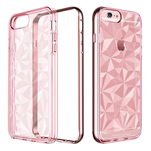 BENTOBEN iPhone 6 Plus Case, iPhone 6S Plus Case, Clear Shockproof Slim Geometric Design Hybrid TPU Chrome PC Frame Protective Phone Case for iPhone 6 Plus/ 6S Plus (5.5