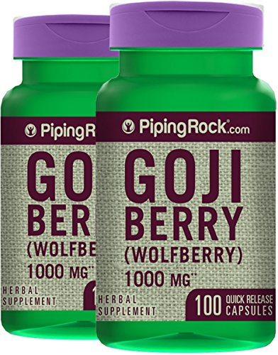 Piping Rock Goji Berry Wolfberry 1000 mg 2 Bottles x 100 Quick Release Capsules Herbal Supplement (Rocks Berry)