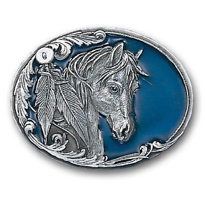 Pewter Belt Buckle - Horse Head and ()