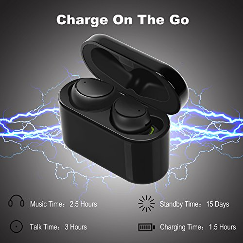 Bluetooth Headphones GULUDED True Wireless Earbuds Sweatproof Bluetooth 4.1 Noise Cancelling In-Ear Gym Headphones with Built-in Microphone and 500mAh Charging Case for Gym,Sports and Running by GULUDED (Image #3)